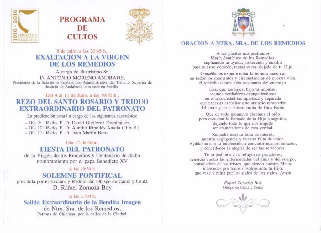 Programa de Cultos a Nuestra Señora de los Remedios